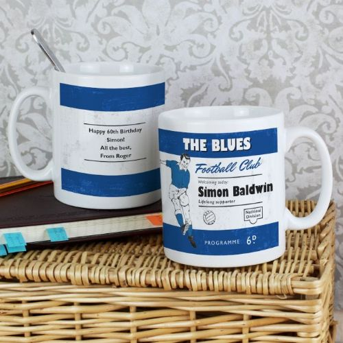 Personalised Vintage Blue and White Football Supporter's Mug
